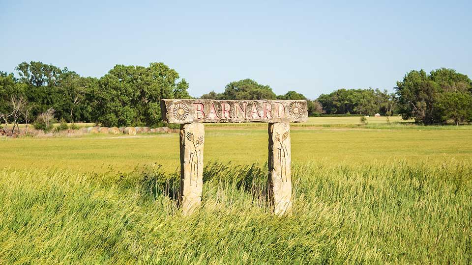 Barnard limestone welcome sign, Barnard, Kansas