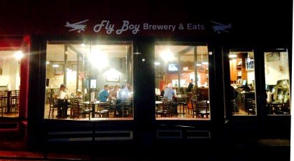 Fly Boy Brewery & Eats in Sylvan Grove at night. Photo credit: Kelly Larson