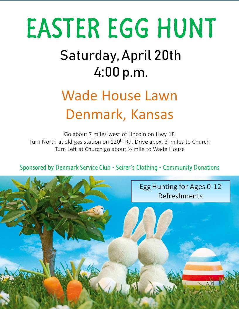 Denmark, Kansas, Easter Egg Hunt is April 20, 2019 at 4 p.m. on the Wade House lawn