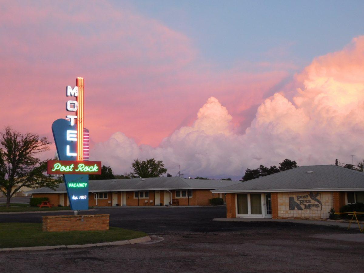 Post Rock Motel, Lincoln, KS, fully restored neon sign