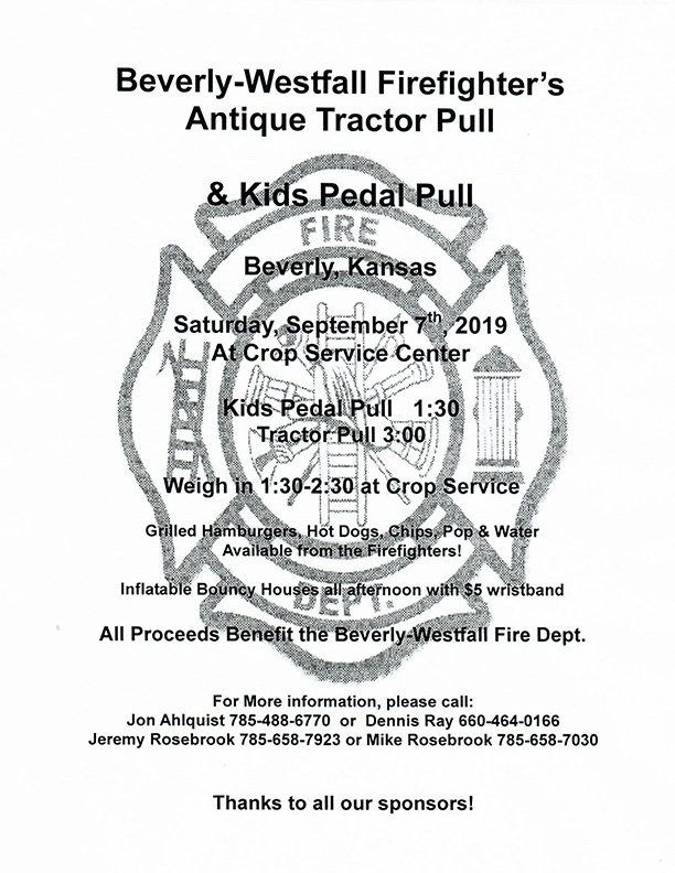 Beverly-Westfall Fire Department Antique Tractor Pull Saturday, Sept. 7, 2019 at 11 a.m.
