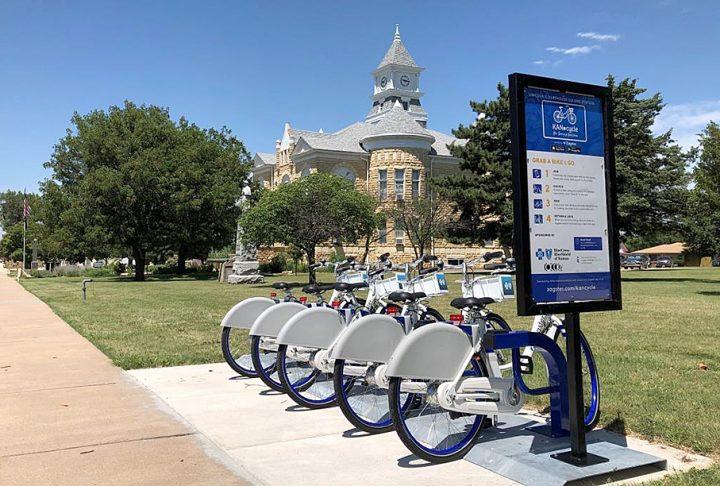 KANcycle Bike Sharing station in Lincoln, KS