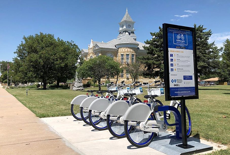KANcycle Bike Sharing station in Lincoln, KS