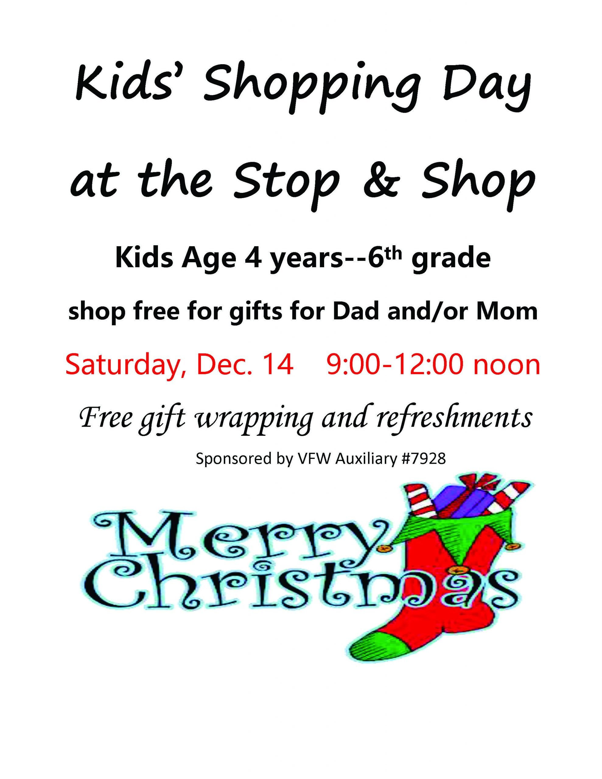Kids Shopping Day December 14, 2019