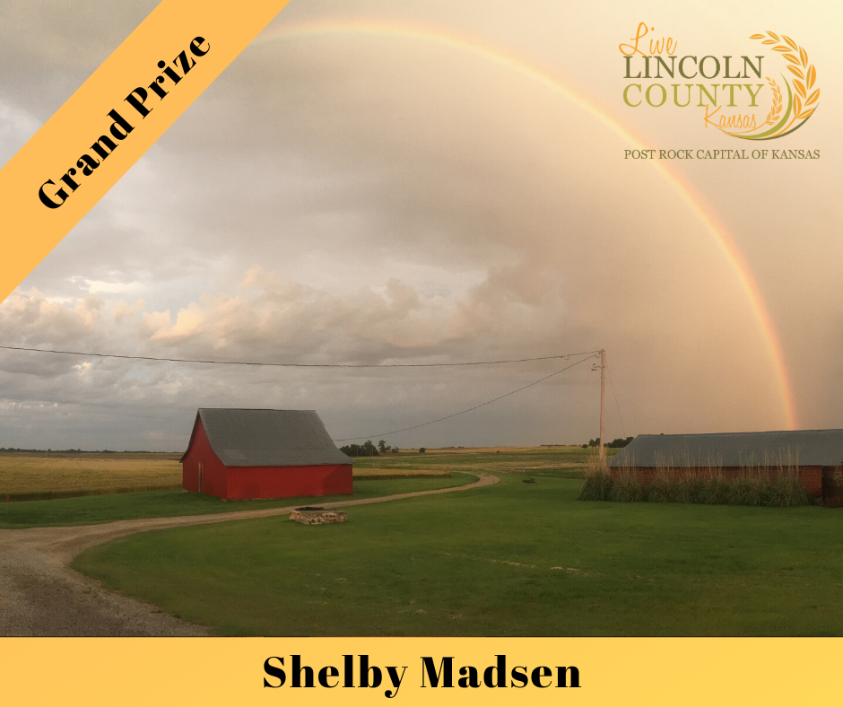 Grand Prize winner of the 2019 #LiveLincolnCounty Photo Contest was Shelby Madsen, with a photo of a rainbow over a red barn.