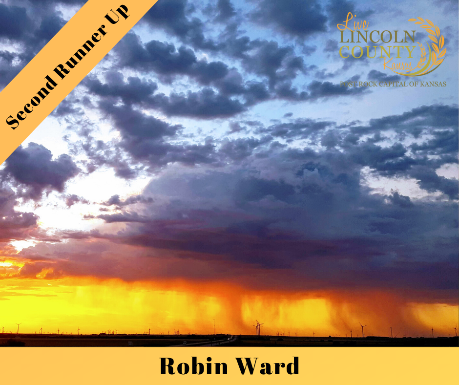 Second Runner-up winner of the 2019 #LiveLincolnCounty Photo Contest was Robin Ward, with a photo of a storm cloud at sunset near the wind farm towers at the SW part of Lincoln County.