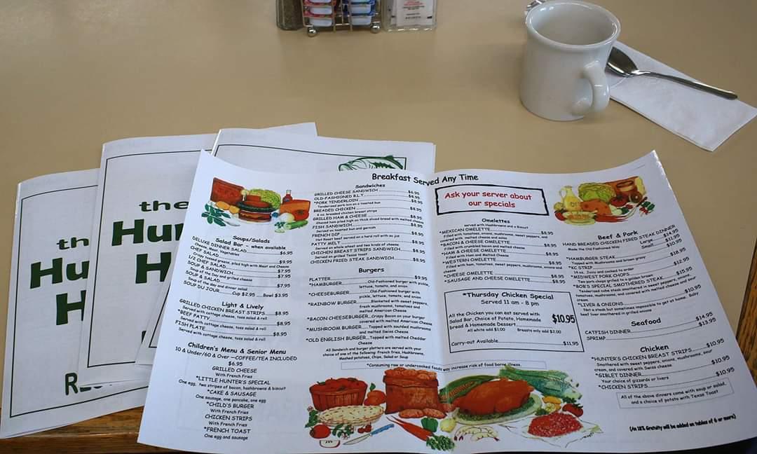 Hungry Hunter menu, Lincoln, Kansas restaurant