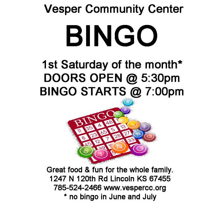 CANCELLED - Saturday Night Bingo @ Vesper Community Center
