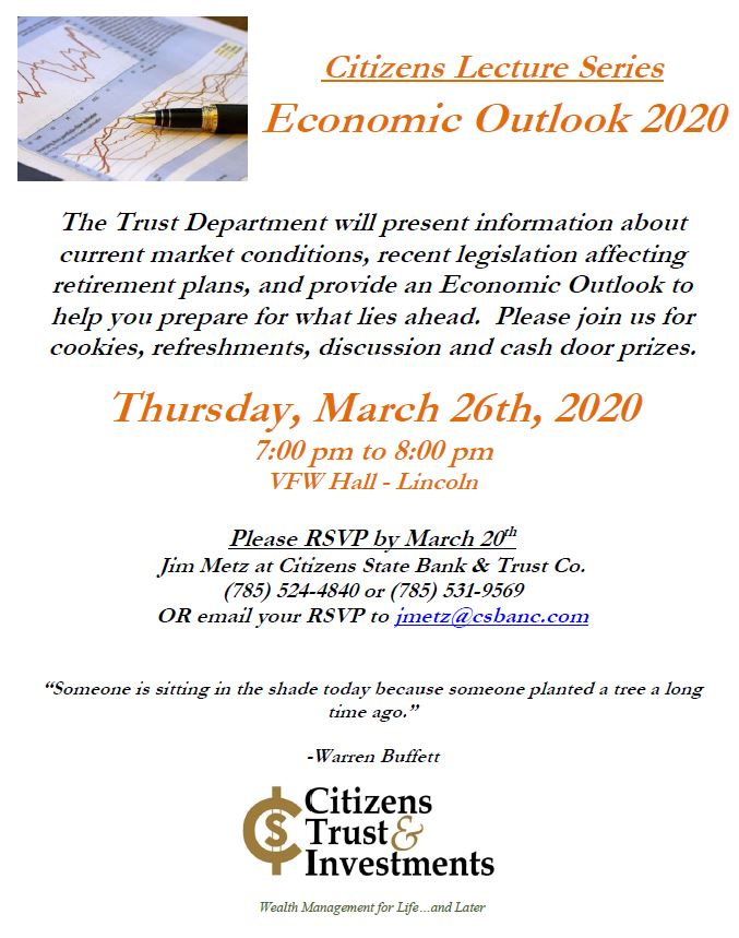 Citizens Trust & Investments Lecture Series: 2020 Economic Outlook @ VFW Hall