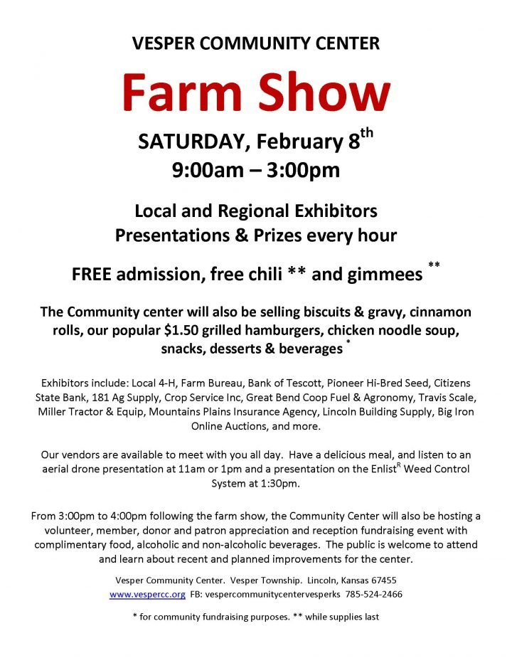Vesper Community Center Farm Show @ Vesper Community Center