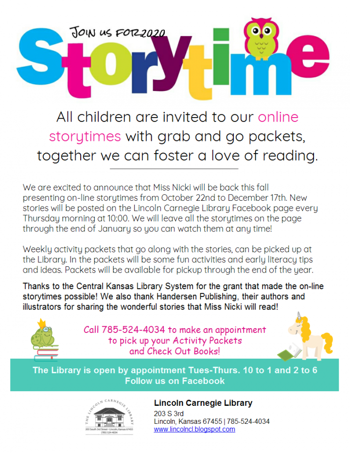 Storytime (online) @ Lincoln Carnegie Library