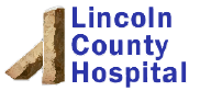 Lincoln County Hospital logo with stone post and blue text