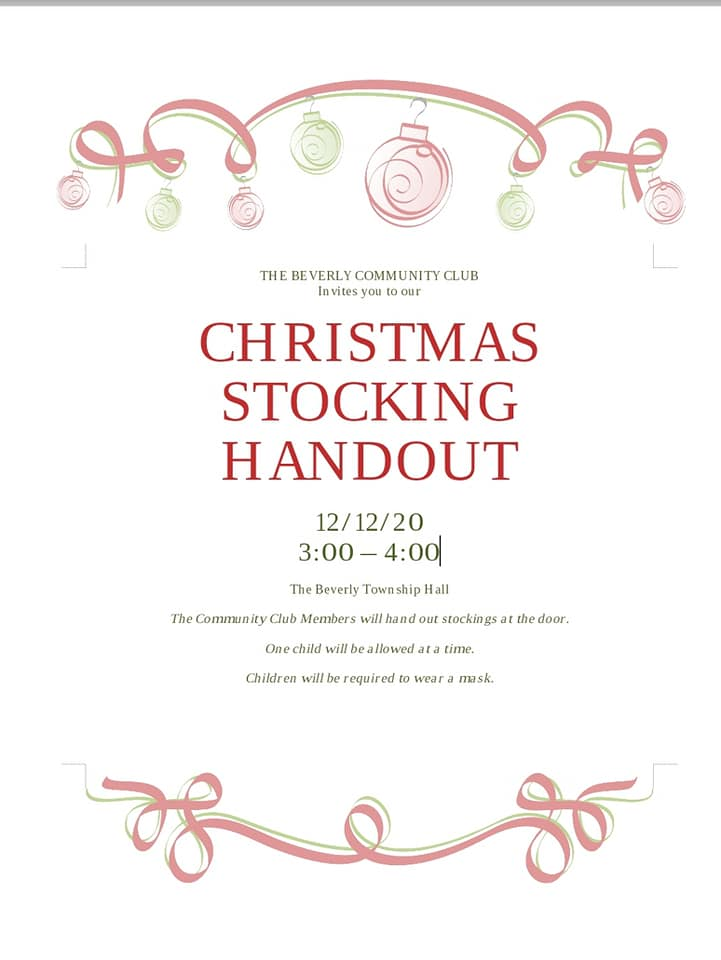 Christmas Stocking Handout @ Beverly Township Hall
