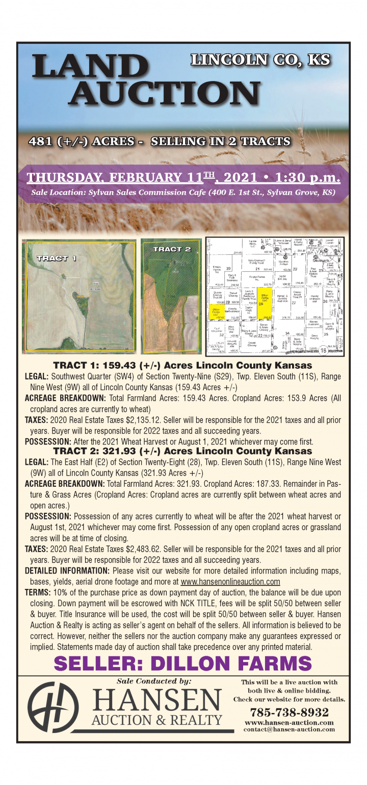 Land Auction February 11, 2021 at 1:30 p.m. at Sylvan Sales Commission Cafe