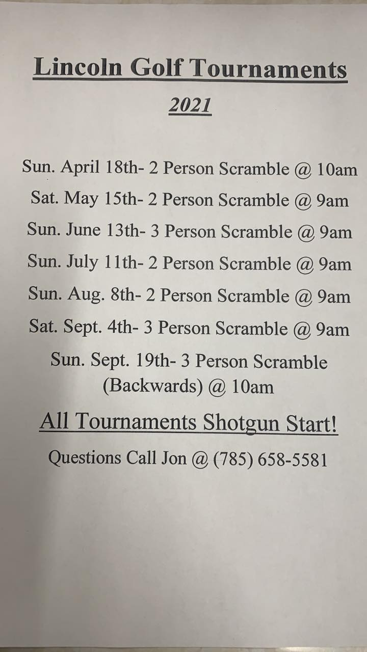 Golf Tournament - 2 Person Scramble @ Lincoln Golf Course
