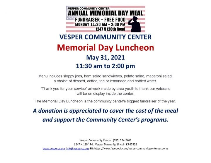 Memorial Day Luncheon @ Vesper Community Center