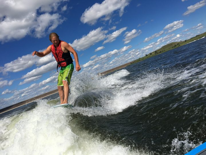 Surfing at Wilson Lake (photo by Lori Spear)