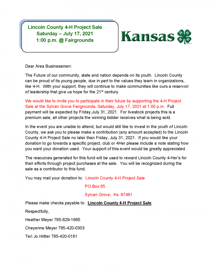 4-H Project Sale at the Lincoln County Fair July 17 at 1 p.m.